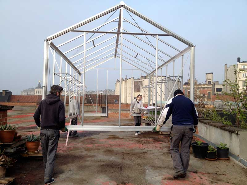 moving the greenhouse to its new spot