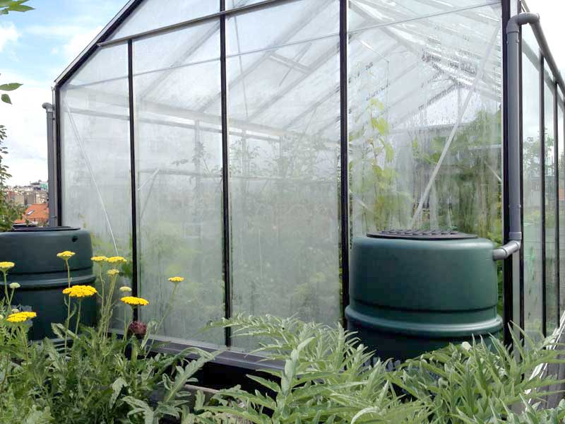 2 x 250 liter recuperated from the greenhouse roof
